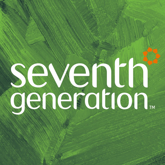Seventh generation in white text over a background that looks like a painted leaf.